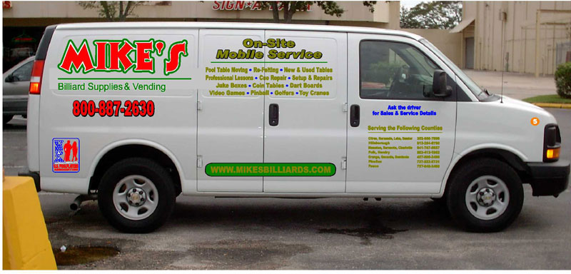 This 2006 Chev van is one of 5 service vehicles that is specially used to service pool table and billiard tables all over the 55 Counties in Florida that Mike's Billiard Supplies and Crating provides recover, re-rubber and crating service to